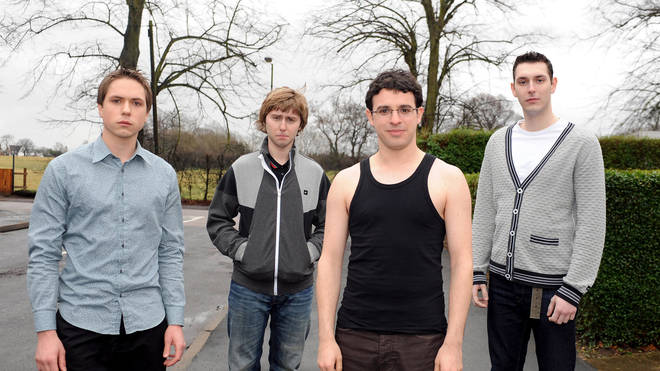 The Inbetweeners cast Joe Thomas who played Simon Cooper, James Buckley who played Jay Cartwright, Simon Bird who played Will McKenzie and Blake Harrison who played Neil Sutherland in 2009