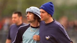 Liam Gallagher and Damon Alban enjoy some sporting vbanter in the 90s