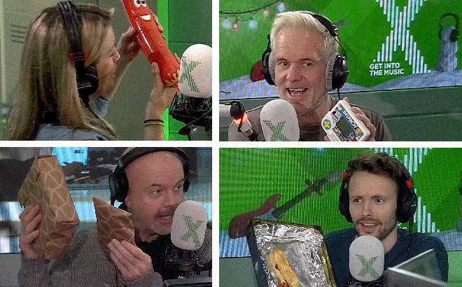 The Chris Moyles Show team open secret santa presents