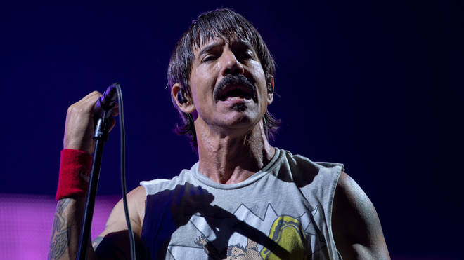 Anthony Kiedis onstage in Rio with Red Hot Chili Peppers in 2019