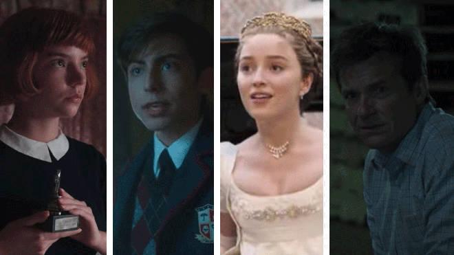 Stills from The Queen's Gambit, The Umbrella Academy, Bridgerton and Ozark