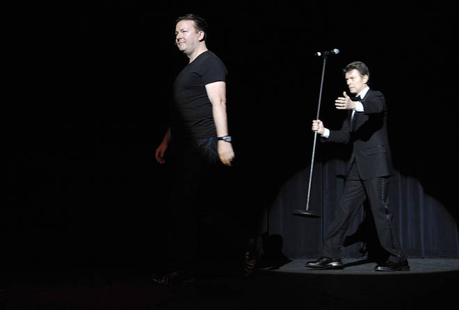 Technically this is Bowie's last performance - introducing Ricky Gervais onstage at New York's Madison Square Garden, 19 May 2007
