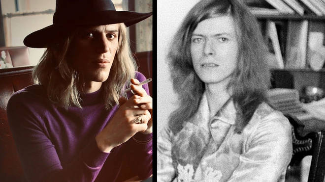Johnny Flynn in the Stardust film and David Bowie in 1971