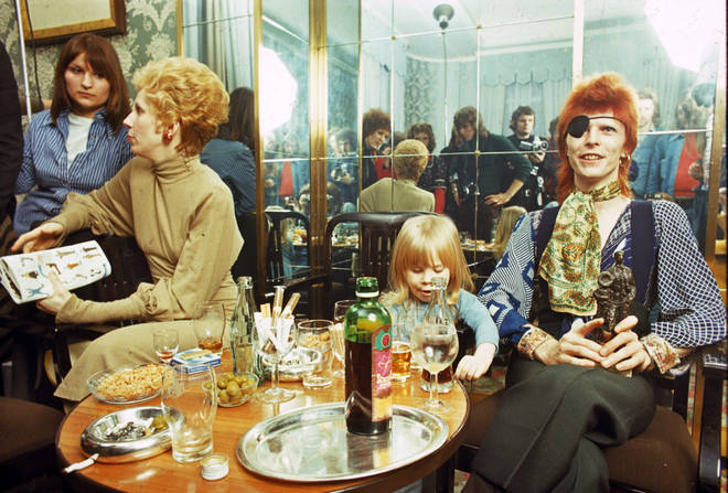 Bowie, wife Angela and son Duncan aka Zowie at a press conference in Amsterdam, February 1974