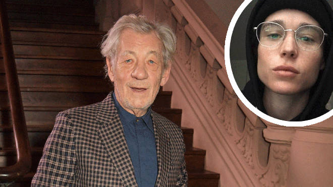 Sir Ian McKellen with co-star Elliot Page inset