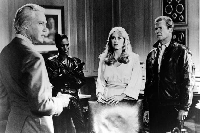 Christopher Walken, Grace Jones, Tanya Roberts and Roger Moore in A View To A Kill, 1985
