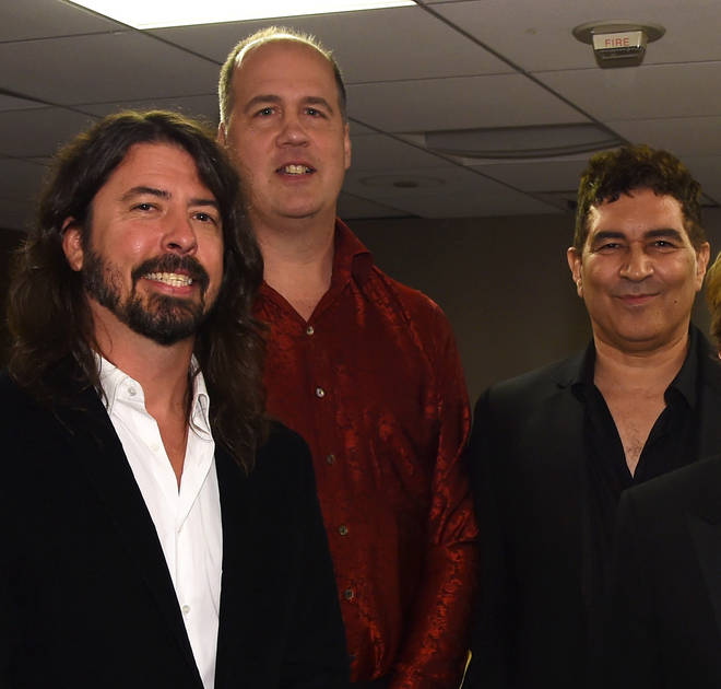 Surviving Nirvana members  Dave Grohl, Krist Novoselic and Pat Smear at the 2016 pre-GRAMMY Gala