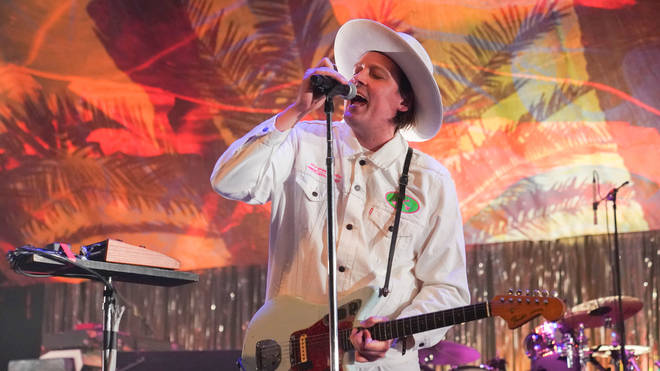 Win Butler on stage with Arcade Fire on 14 February 2020