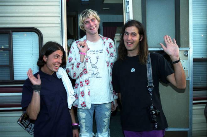 NIrvana at the 1992 MTV Video Music Awards: Dave Grohl, Kurt Cobain and Kirst Novoselic