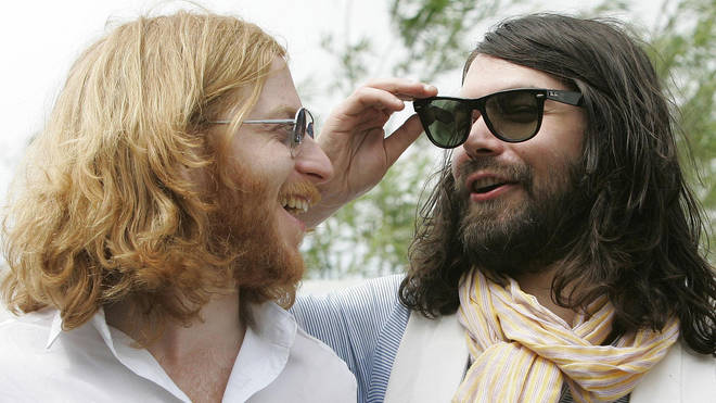 Biffy Clyro's James Johnston and Simon Neil at T in The Park 2007