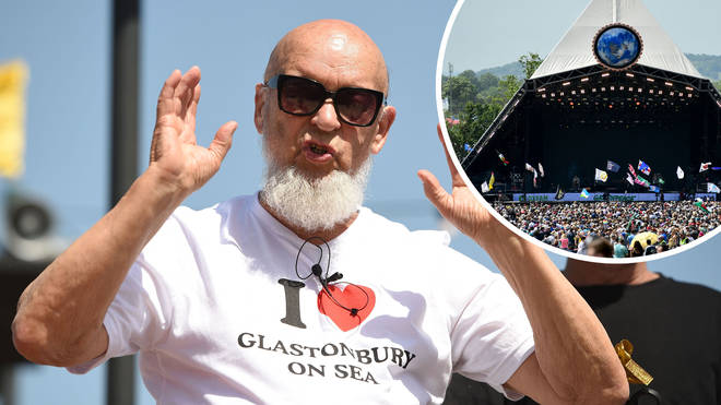 Michael Eavis with Glastonbury's Pyramid Stage inset