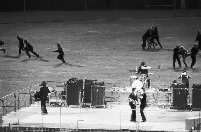 "The Beatles play their final ""proper"" concert at San Francisco&squot;s Candlestick Park on 29 August 1966."