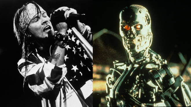Axl Rose of Guns N'Roses and a scene from Terminator 2: Judgement Day