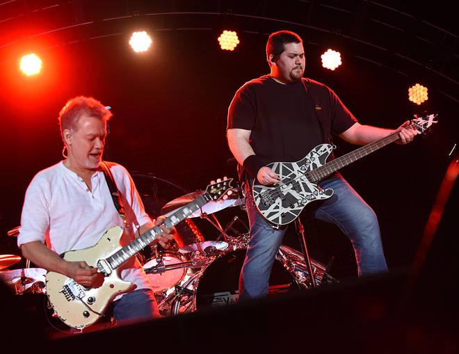 Eddie Van Halen and son Wolfgang perform in 2015