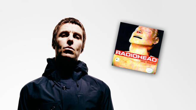Liam Gallagher press image with Radiohead's The Bends artwork inset