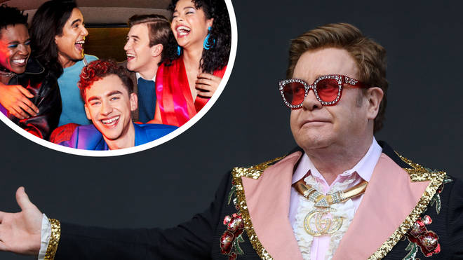 The cast of It's A Sin and Elton John