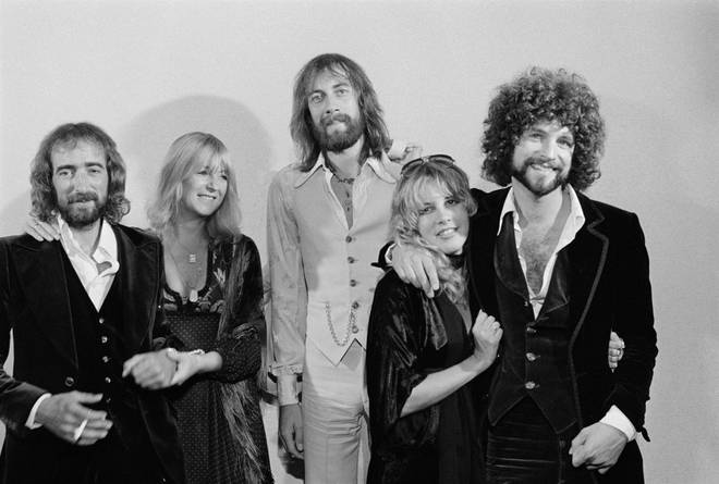 Fleetwood Mac in 1976 just after the recording of the huge hit album Rumours:  John McVie, Stevie Nicks, Mick Fleetwood, Christine McVie and Lindsey Buckingham