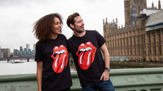 The Rolling Stones logo on t-shirts