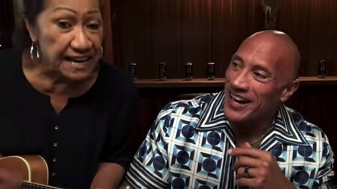 Dwayne Johnson sings a duet with his mum