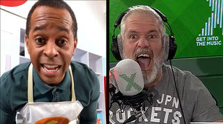 Chris Moyles tries to distract Andi Peters as he's about to go live on TV