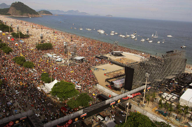 The Rolling Stones' stage at Copacabana beach in Rio, 18 February 2006. It's not even a quarter full yet!