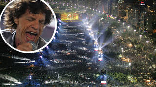 The Rolling Stones perform to over a million people at Copacabana Beach in Rio, February 2006