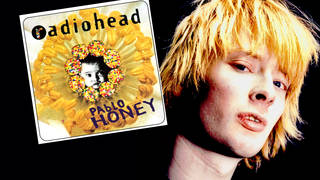 Thom Yorke in 1994 and Radiohead's debut album Pablo Honey