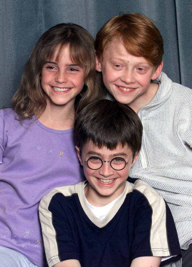 Emma Watson, Rupert Grint and Daniel Radcliffe in a Harry Potter Photocall in 2000