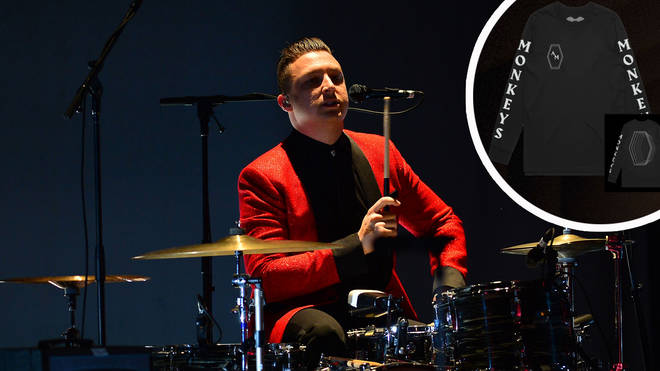 Arctic Monkeys' Matt Helders with limited edition merch inset