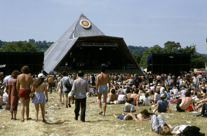 The second Pyramid Stage at Glastonbury 1983, complete with corrugated iron roof