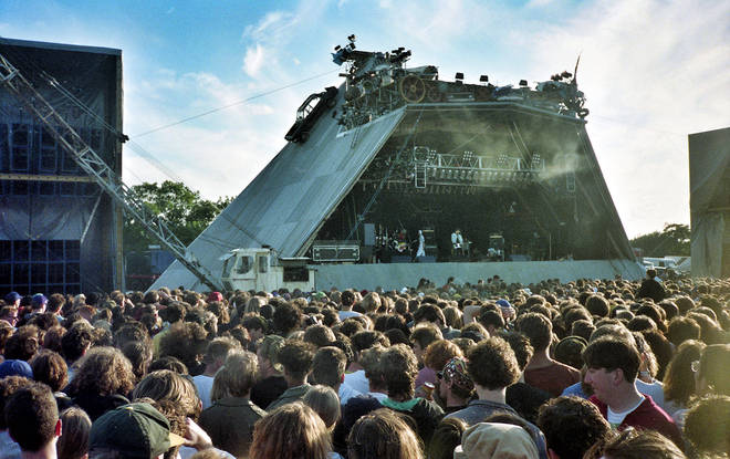 The corrugated Pyramid Stage gets a bit more busy-looking as the 90s arrive