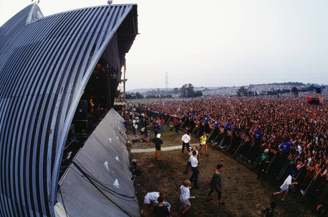 A view from the Pryamid Stage in 1992... this incarnation of the structure would burn down two years later