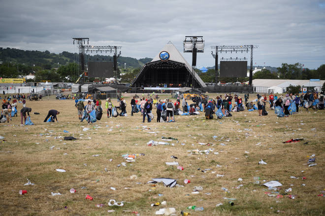 Clean up time at the Pyramid Stage, the Monday after Glastonbury 2019