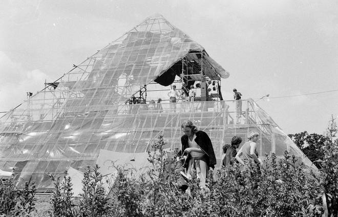 The very first Pyramid Stage at Glastonbury festival in June 1971, made from scaffolding, sheet metal and plastic sheeting