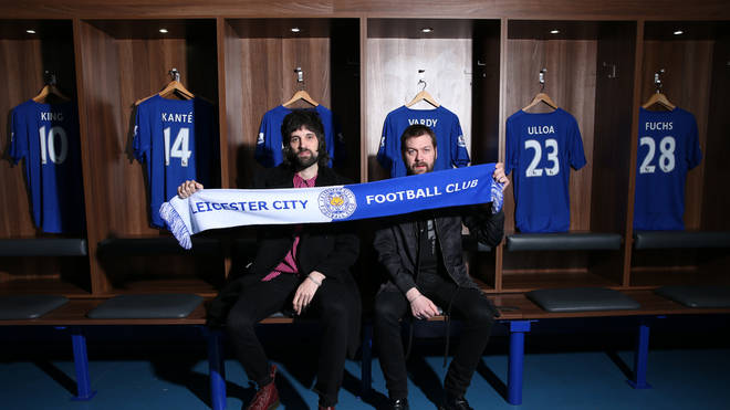 Kasabian's Tom Meighan and Serge Pizzorno at Leicester City's King Power Stadium