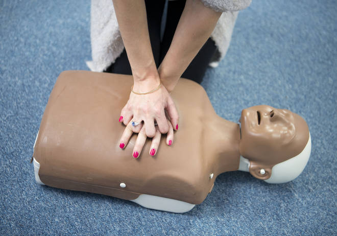 A CPR dummy does its thing