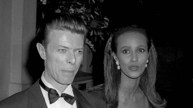David Bowie and Iman attend the Met Gala in 1990