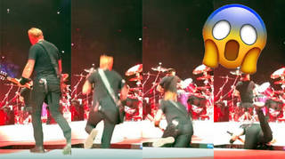 James Hetfield falls through the stage