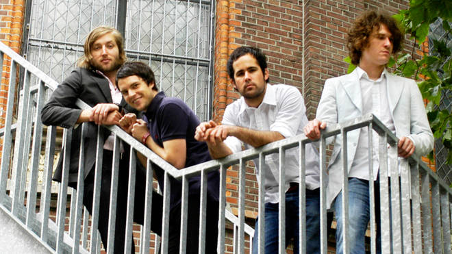 The Killers in 2004:Mark Stoermer, Brandon Flowers, Ronnie Vannucci and David Keuning