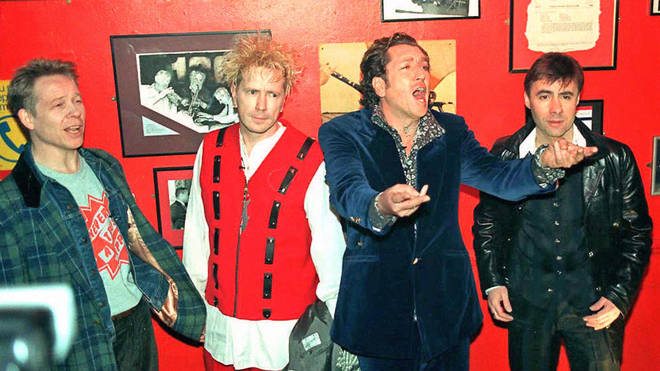Sex Pistols in March 1996, announcing their reunion shows: Paul Cook, John Lydon, Steve Jones and Glen Matlock