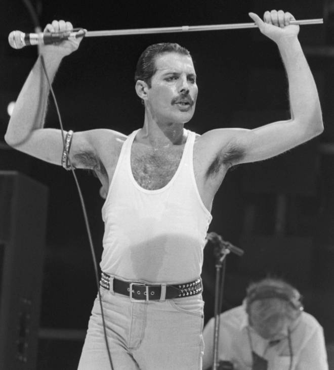Freddie Mercury at Live Aid, 13 July 1985