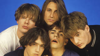 The Charlatans in September 1990: artin Blunt, Rob Collins, Jon Brookes, John Baker and Tim Burgess