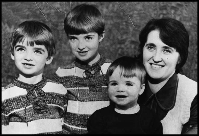 Family portrait of the Gallagher family in the mid 1970's from left to right Noel, Paul, Liam and Mum Peggy Gallagher