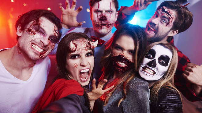 Revellers dressed up in Halloween costumes