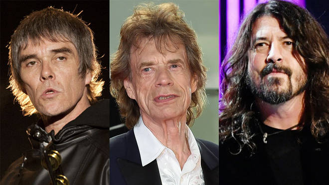 The Stone Roses Ian Brown, The Rolling Stones Mick Jagger and Foo Fighters Dave Grohl