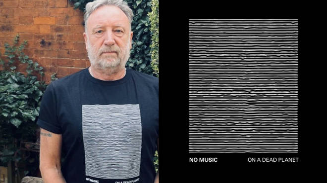 Peter Hook and the new Joy Division No Music On A Dead Planet t-shirt design