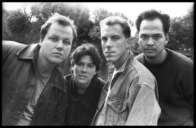 Pixies in September 1988: Black Francis, Kim Deal, David Lovering, and Joey Santiago