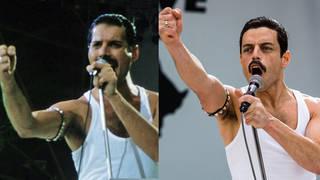 Freddie Mercury at Live Aid and Rami Malek's recreation for the film Bohemian Rhapsody