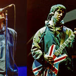 Liam and Noel Gallagher performing with Oasis at Maine Road, 28 April 1996