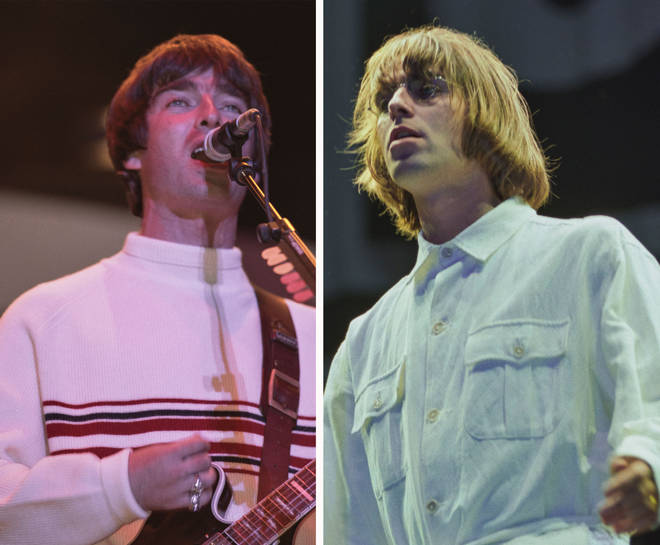 Noel Gallagher and Liam Gallagher at Knebworth